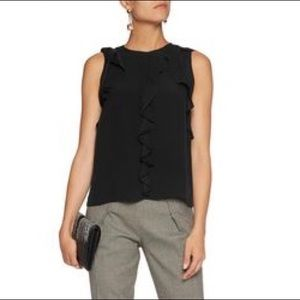 Alexis Mathilde Black Ruffle Sleeveless Top M
